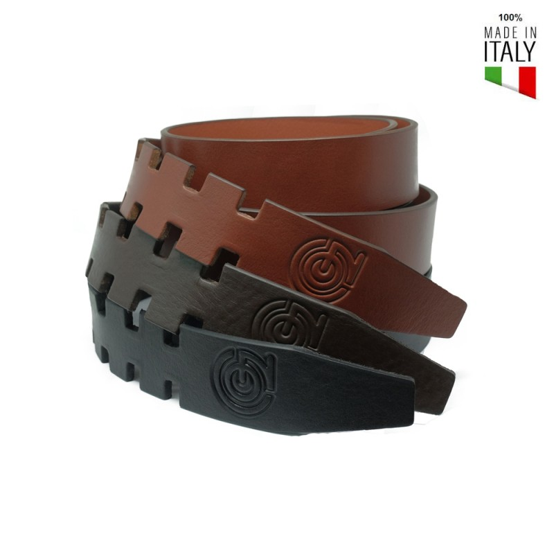 CINTURA IN PELLE SENZA FIBBIA FLY BELT COL MARRONE
